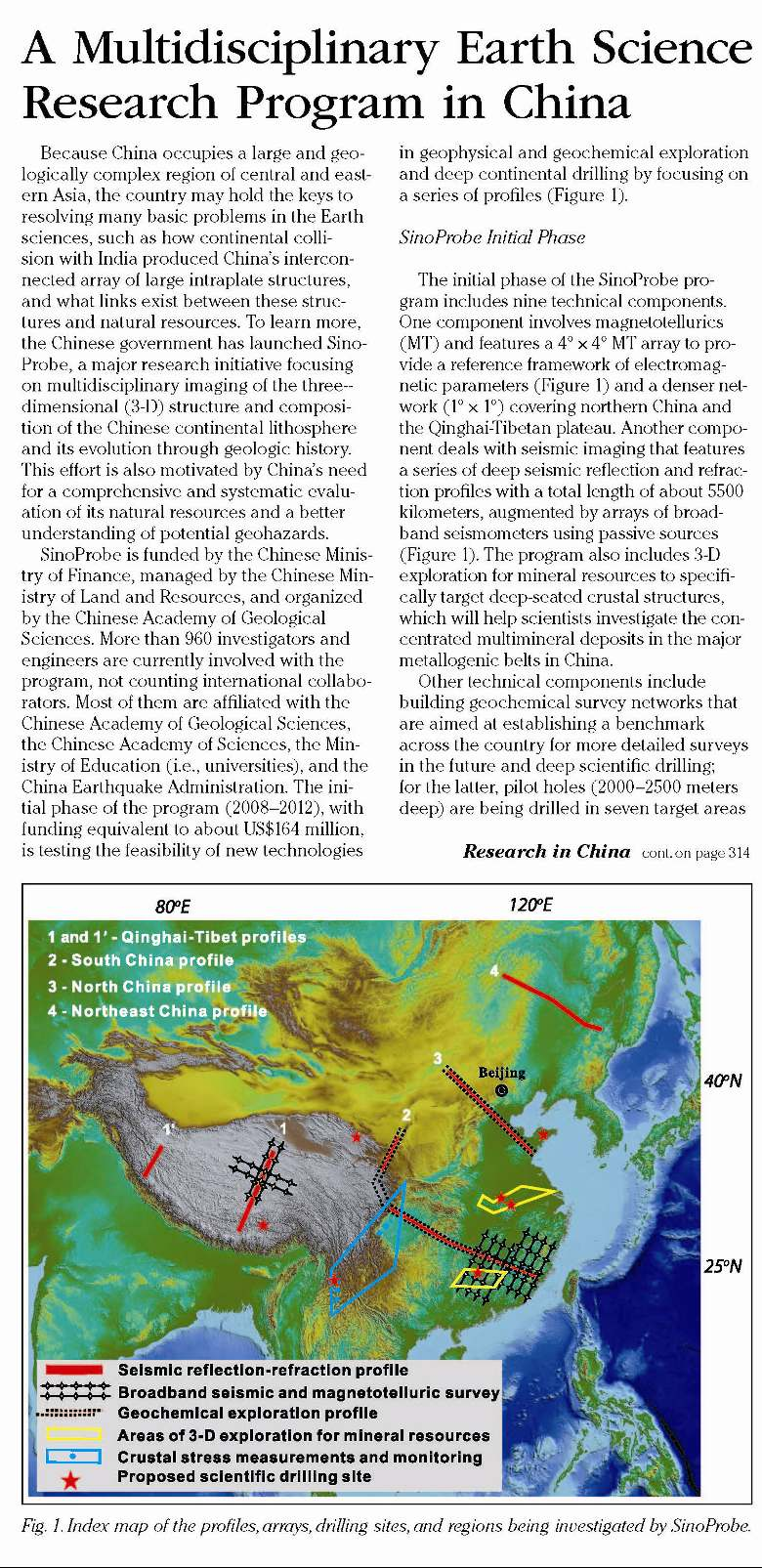 A Multidisciplinary Earth Science Research Program in China
